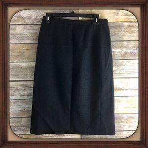Vintage Adolph Schuman Dark Gray Wool Pencil Skirt